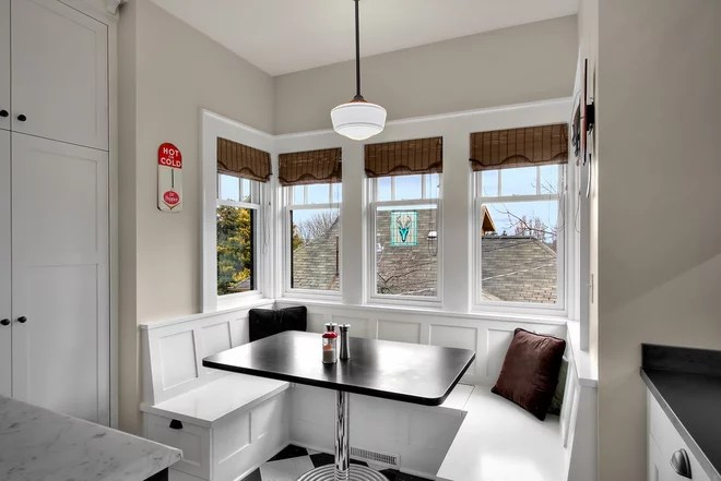 corner booth seating kitchen pantries for renovation detail: the built-in breakfast nook