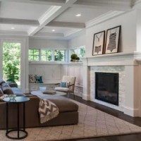 Craftsman Coffered Ceiling Living Room Design Ideas ...
