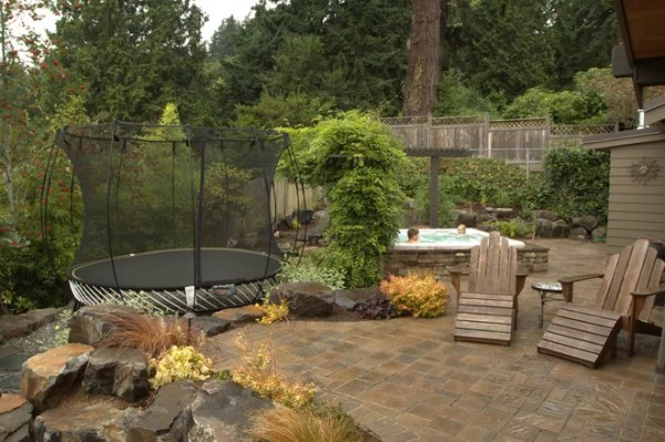 landscaping hot tub