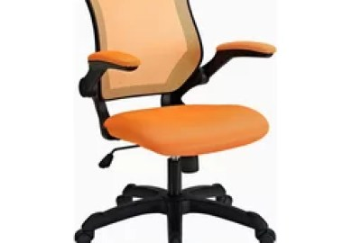 Lexmod Office Chair With Mesh Back And Fabric Seat Orange
