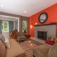 Orange Accent Wall Living Room | Beautiful Cock Love