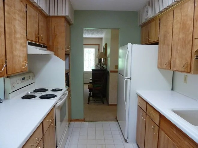 Our Before And After Kitchen. 1960's Small Galley Kitchen