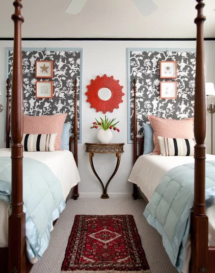 transitional bedroom by Rachel Oliver Decorative Design