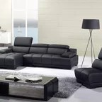 klaussner loomis sectional sofa modern two sided homelegance small tufted grey leather ...