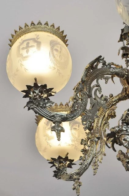 Victorian Early Rococo Gas Chandeliers and Light Fixtures