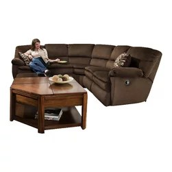 chocolate brown leather sectional sofa with 2 storage ottomans large corner sofas uk catnapper - falcon piece reclining ...