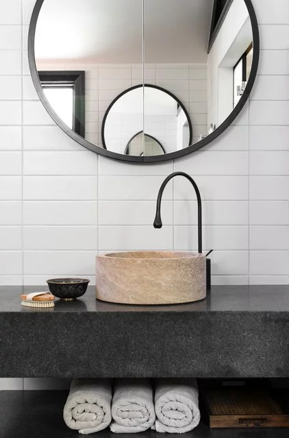 Contemporary Powder Room by D'Cruz Design Group Sydney Interior Designers
