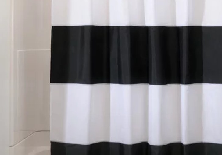 Horizontal Black And White Striped Shower Curtain