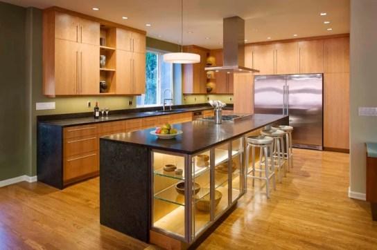 wood floored kitchen after home remodeling