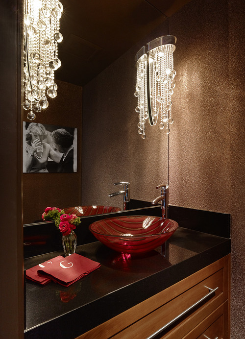 Menlo Park Townhome eclectic powder room