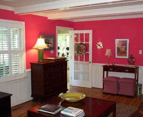 Pink Power traditional family room