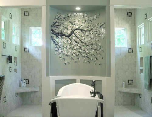 Fused glass cherry blossom mural on barrel wall traditional bathroom