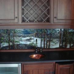 Kitchen Cabinet Designer Granite Ideas Backlit Glass Mural In Lake Scene Theme   ...