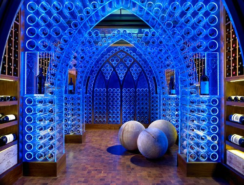 modern wine cellar by Jamie Beckwith