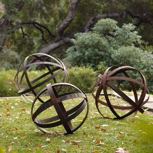 Iron Sphere - Rusted in Garden Ornaments eclectic outdoor decor