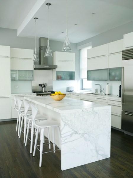 "modern waterfall kitchen island countertop The Granite Gurus: Whiteout Wednesday: 5 White Kitchens with ""Waterfall"" Islands"