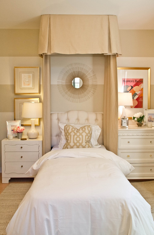 calm, tinw bed, bedroom, stripe, wall, sunburst mirror, art, canopy, cream, white, camel