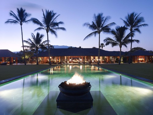 International Style tropical pool
