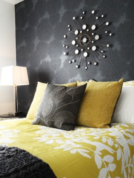 yellow and gray accent bedroom Design Curves: Grey and yellow- one of the best color