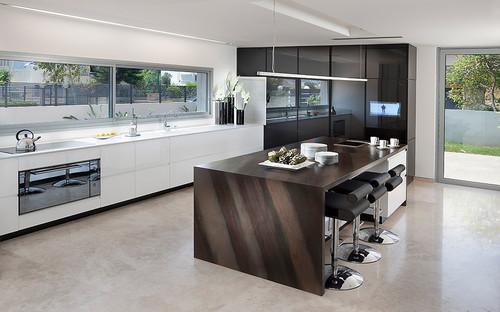 modern waterfall kitchen island countertop Design Trend: Marble & Granite Waterfall Countertops