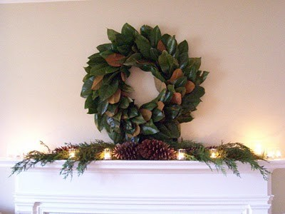 Christmas Mantle - Magnolia Wreath eclectic living room