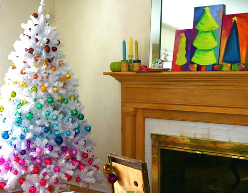 Chromatic Christmas eclectic family room