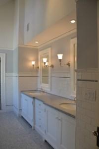 Beautiful bathroom. Chair rail specifics please.