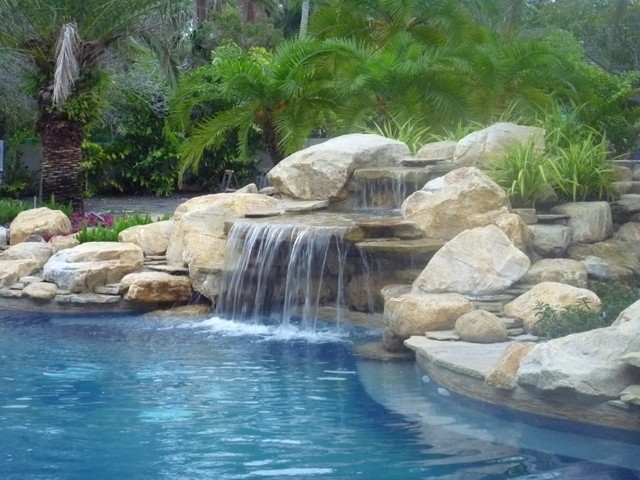 Pool Waterfall and rock garden in South Florida