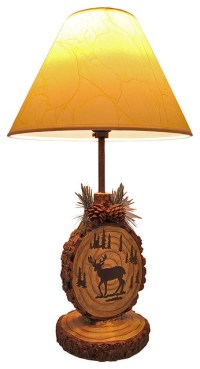 Deer Themed Forest Tree Stump Table Lamp with Shade 18 In