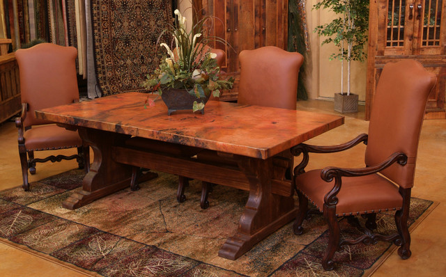 Tuscan Copper Trestle Dining Table Farmhouse Dining Room Other Metro By Woodland Creek