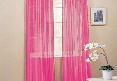 2 Piece Solid Hot Pink Sheer Window Curtains Drape Panels