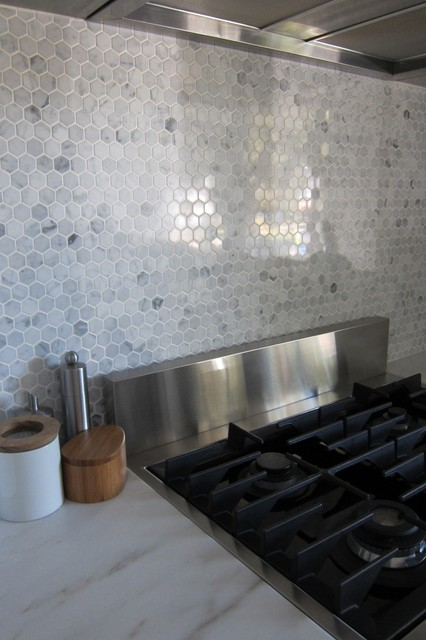 Hexagon marble backsplash  Modern  Kitchen  houston