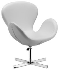 Cobble Swan Swivel Chair- White Leather - Modern ...