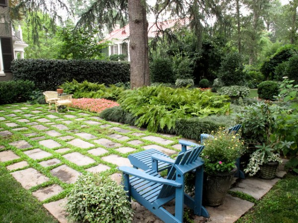 stone terrace with chairs - traditional