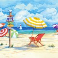 Beach signs umbrellas wall art beach style wallpaper by murals