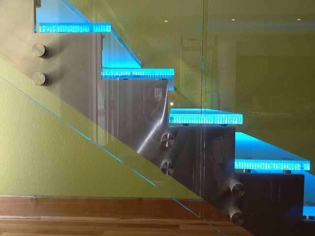 LED lit glass stair case