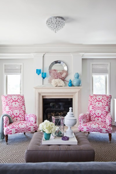 pink and aqua living room Just purchased a gray sofa for a cottage and love the color combination of pink , turquoise