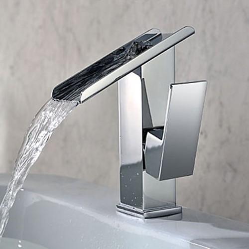 Single Handle Contemporary Solid Brass Waterfall Bathroom ...