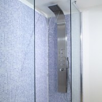 Shower Tower Panel System with Waterfall and Body Jet