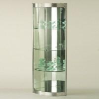 Corner Curio with Mirrored Interior - Silver - Storage ...
