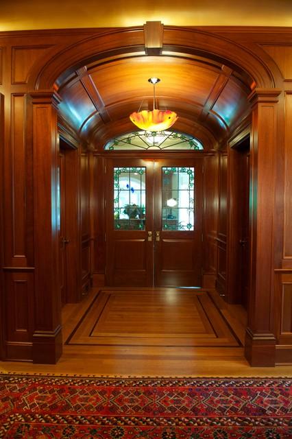 New Jersey Residence Mahogany Foyer Elliptical vaulted