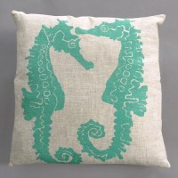 Seahorse Turquoise Pillow on Natural Linen - Modern ...