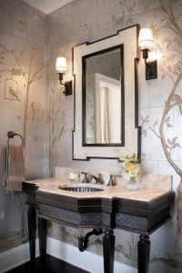 Chinoiserie Formal Powder Room - Traditional - Powder Room ...