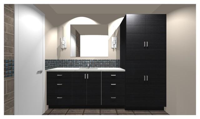 Main Bath Design Concept Vanity WGlass Mosaic Tile Stripe