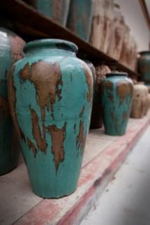 rustic glazed pots - outdoor decor