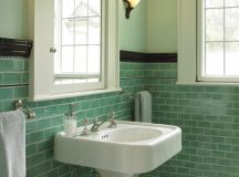 Can I paint my 1950's green tile, small, bathroom dark green?
