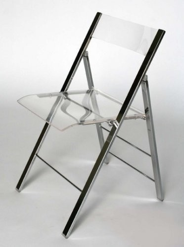 Clear Acrylic Folding chair with Chrome Base  Modern