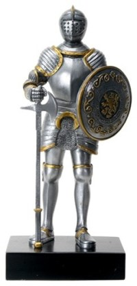 Silver Colored English Knight Design Standing Statue in ...