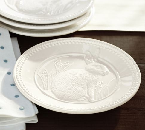 Easter Bunny Debossed Salad Plate  Traditional  Salad And Dessert Plates  by Pottery Barn