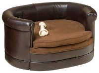 Rover Oval Chocolate Brown Leather Pet Sofa Bed ...